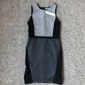 DKNY Black and Gray Sheath Dress